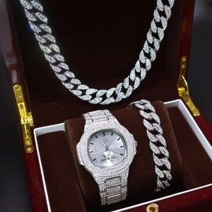 Other - Full Iced Out Watch, Bracelet and Necklace Set